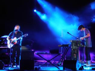 Thom Yorke and Jonny Greenwood on stage in Macerata