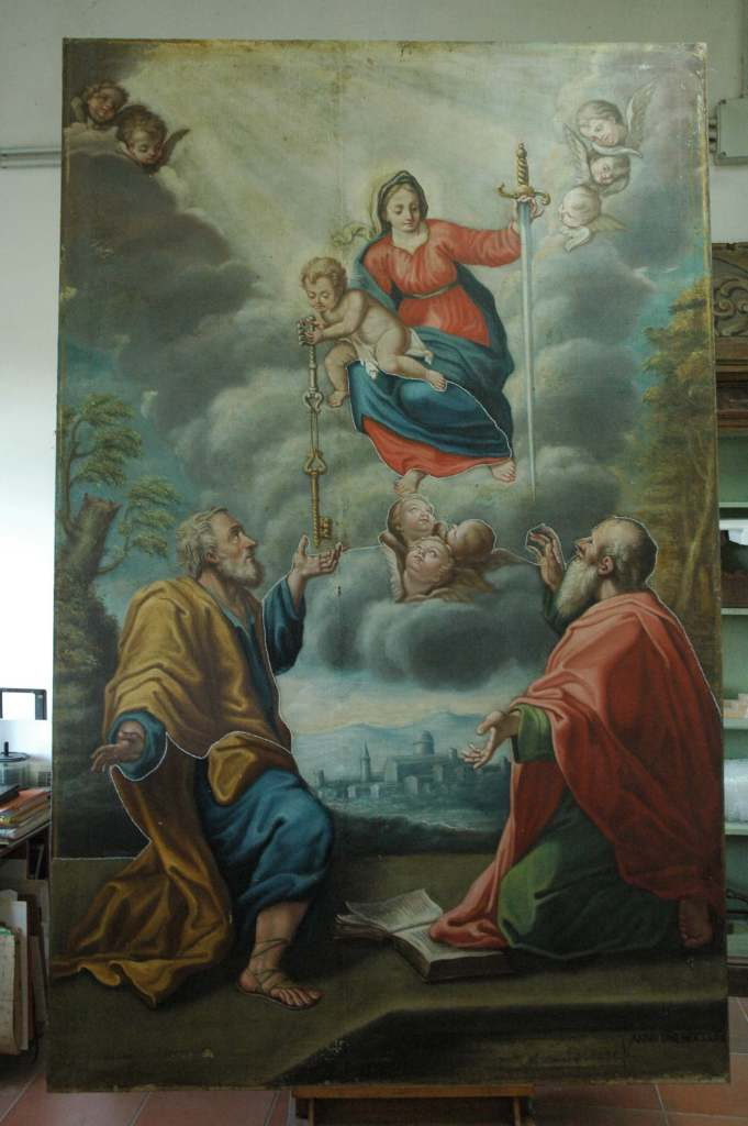 Smerillo - Madonna with Child and Saints Peter and Paul stages of cleaning